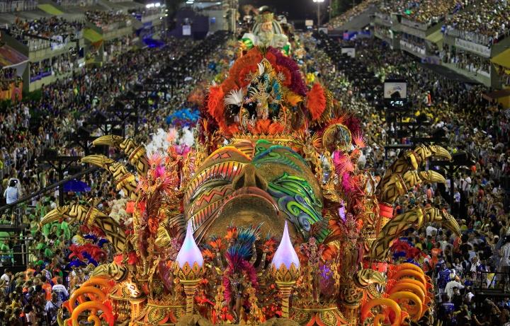 The Beija-Flor samba school parades during the Rio de Janeiro's Carnival